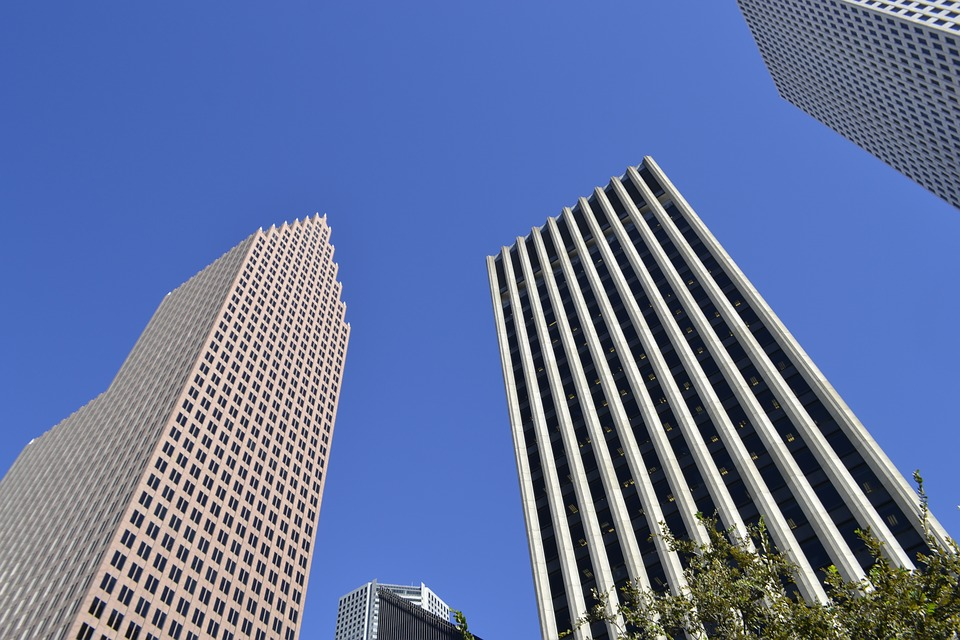 Skyscrapers, Houston, Texas, Office Buildings, Blue Sky