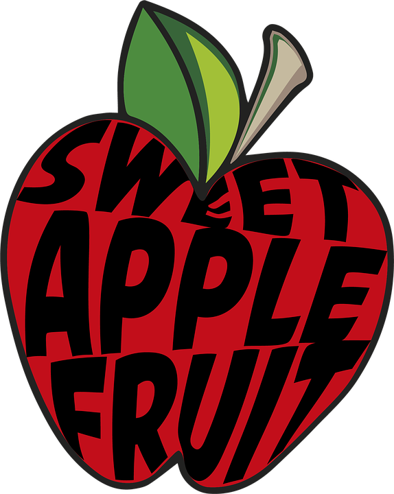 Drawing, Apple, Fruit, Text, Red, Leaf, Delicious