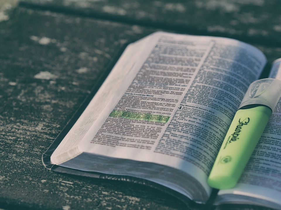 Bible, Book, Highlighter, Page, Text