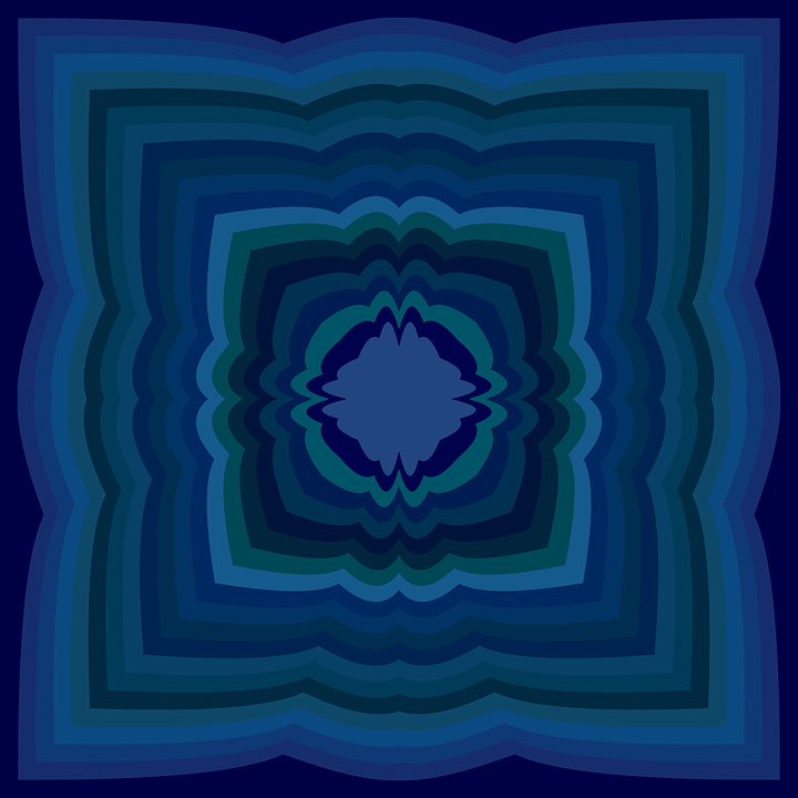 Blue, Concentric, Graphic, Decor, Textile, Dark, Curved