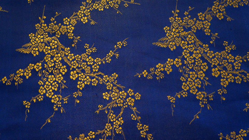 Free photo Texture Golden Blue Background Gold Fabric - Max Pixel