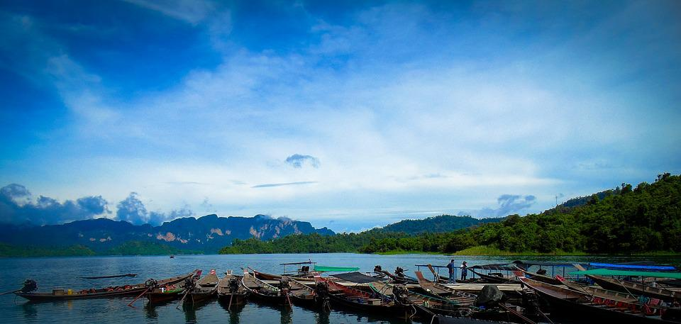 Sky, Water, Thailand, Boats, Travel, Landscape, Blue