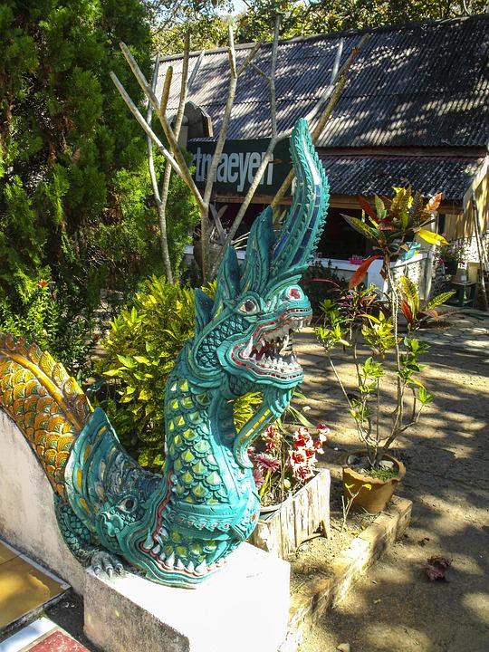 Stone Figure, Sculpture, Dragon, Temple, Thailand