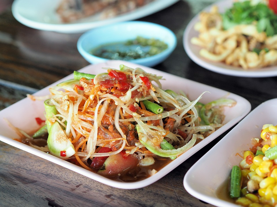 Papaya Salad, Isaan Food, Thailand Food, Dining Table