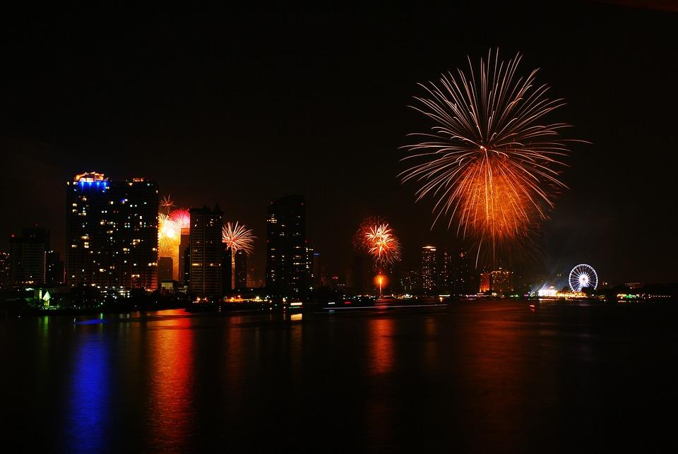 fireworks happy new year bangkok thailand 2015