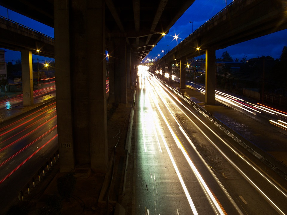 Highway, Night, Thailand, Bangkok, Light, Lights, Dark
