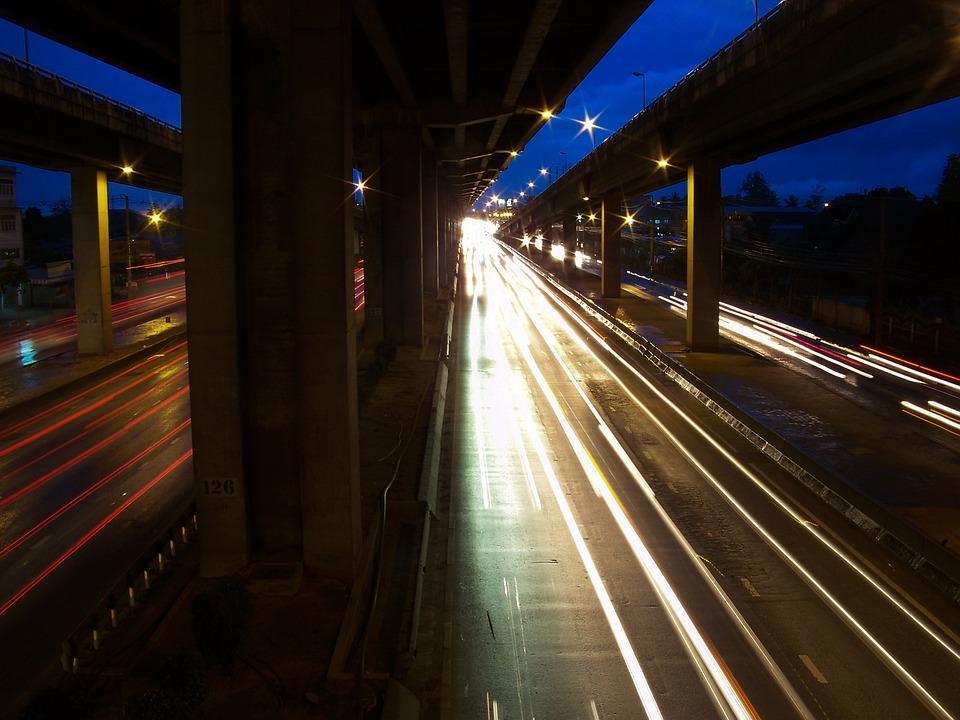 Highway, Night, Thailand, Bangkok, Light, Lights, Dark