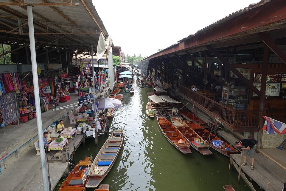 Thailand, Floating Market, Travel, Market