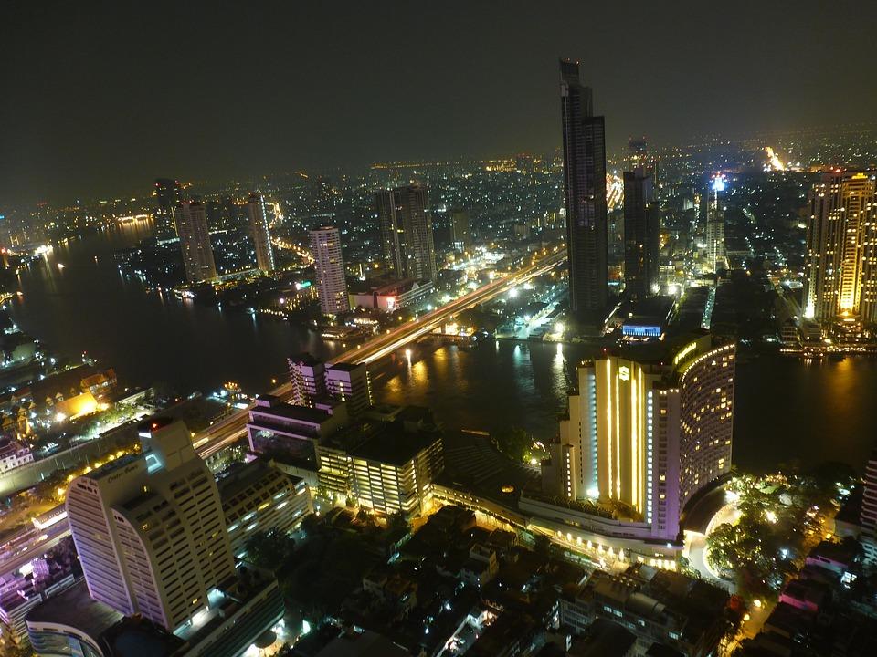 Bangkok, Skyline, Thailand, Skyscraper, Night, City