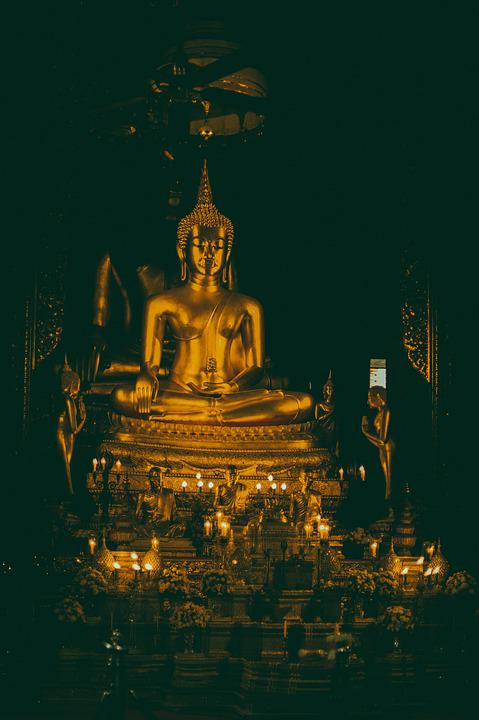 Asia, Thailand, Temple, Altar, Buddha, Candles, Dark