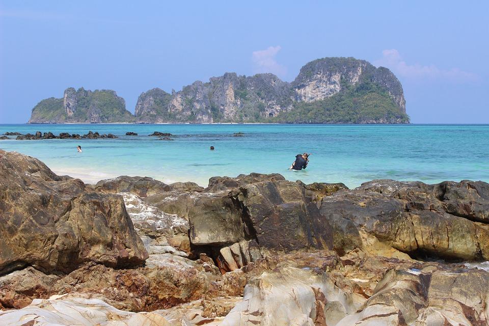 White Sand Beach, Krabi, Thailand, Rock, Travel