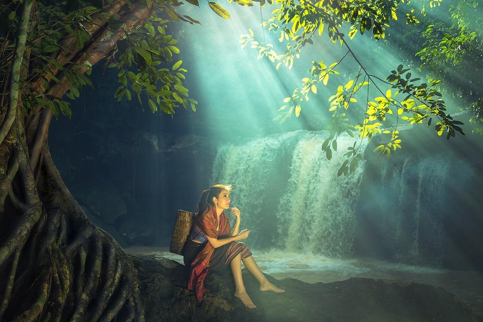 Woman, Asia, Outdoor, Vietnamese, Thailand, Sitting