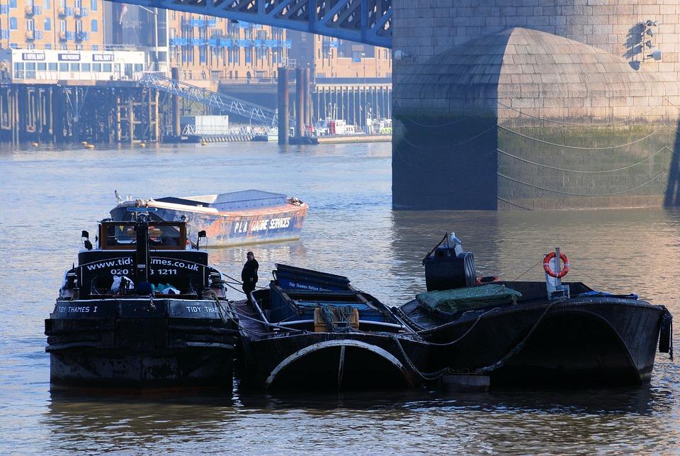 Barges, River, Refuse Service, Thames, London