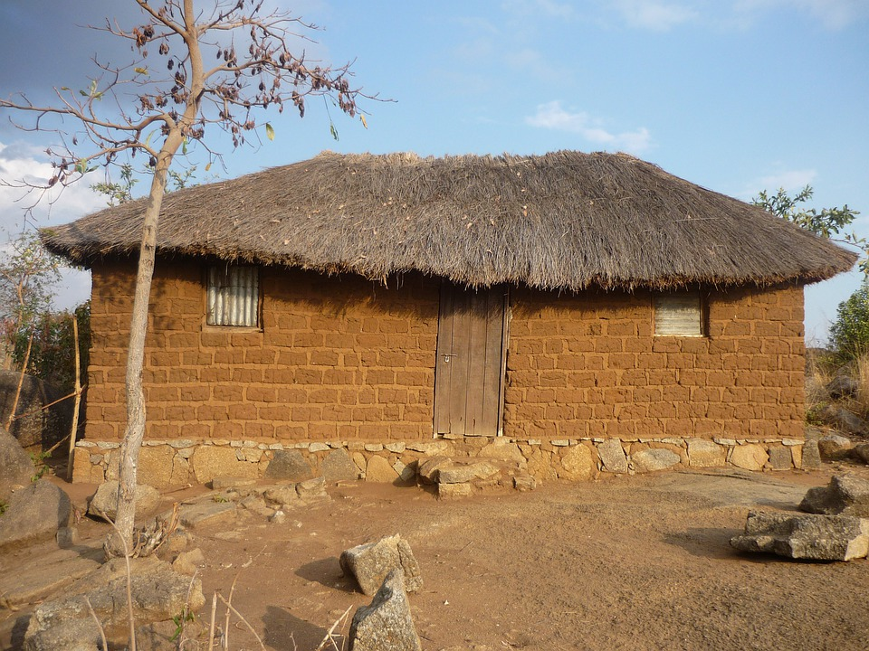 House, Hut, Brick, Clay, Thatched Roof, Mwanza