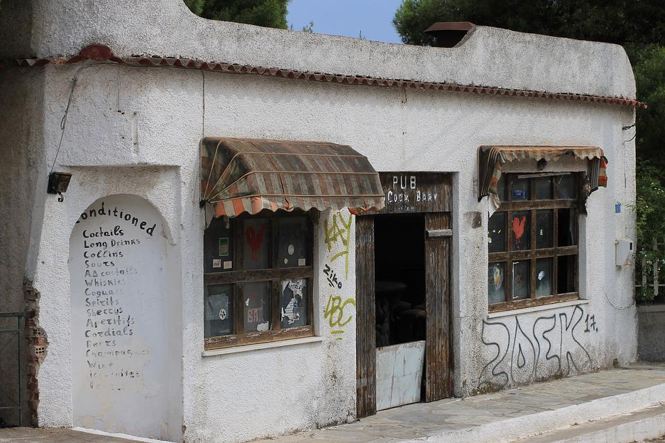 The Abandoned, Old, Pub, Bar, Greece, Aegina, Building