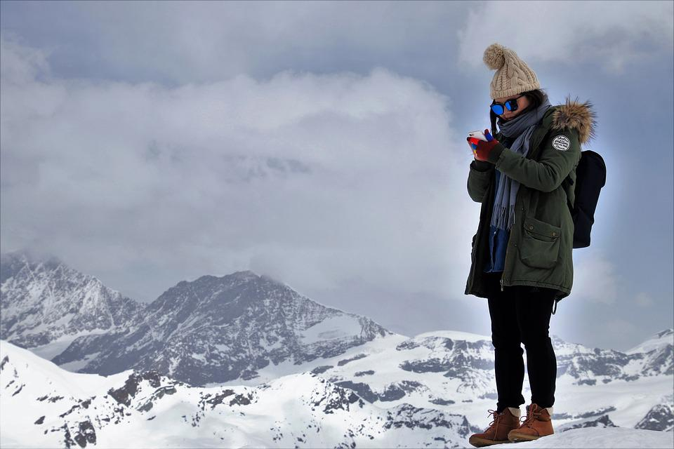 The Alps, She, Snow, Winter, Mountain, Cold, Sms, Phone