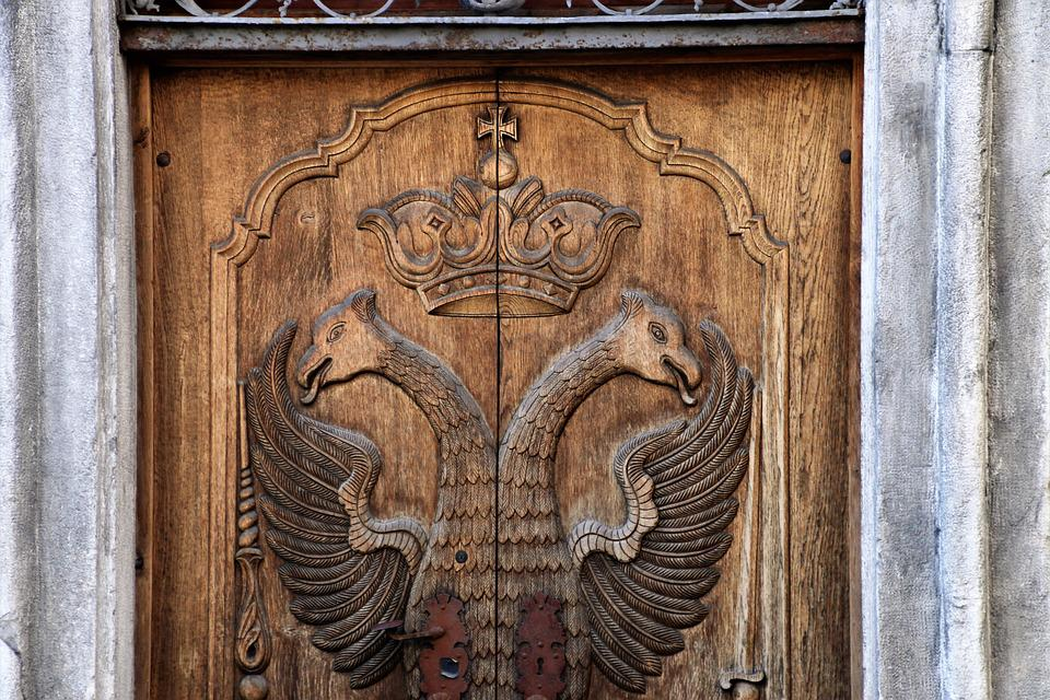 Coat Of Arms, Crown, The Door, Old, The Art Of, Wooden