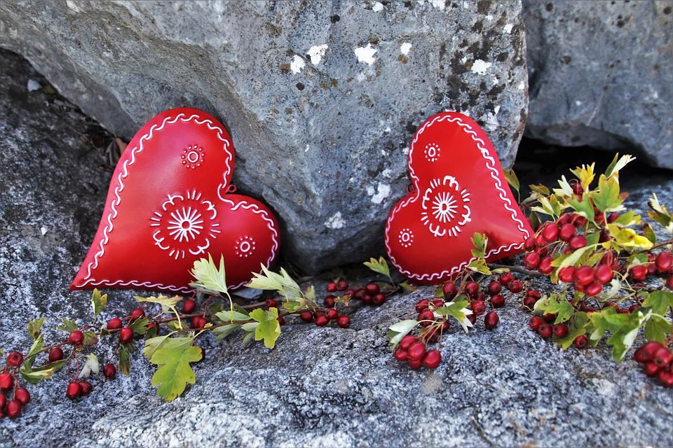 Red, Heart, Feeling, Autumn, The Background, Stone