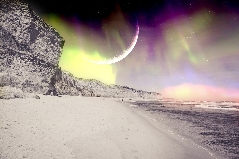 Fantasy Northern Lights, The Beach And Cliffs