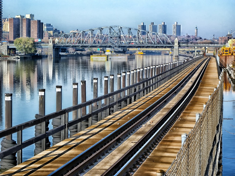 New York City, The Bronx, Railroad, Bridge, River