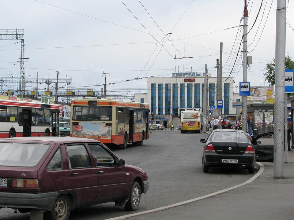 The City Of Perm, Railway, Station, Buses, Russia, Node