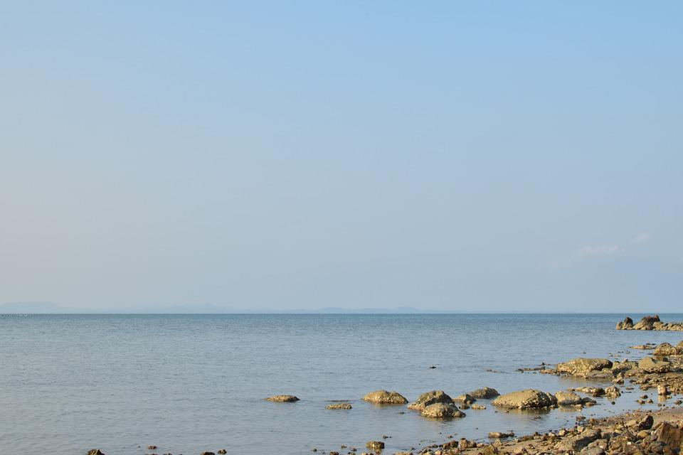 Sea, The Coast, Rock, Horizon, Sky, Peace