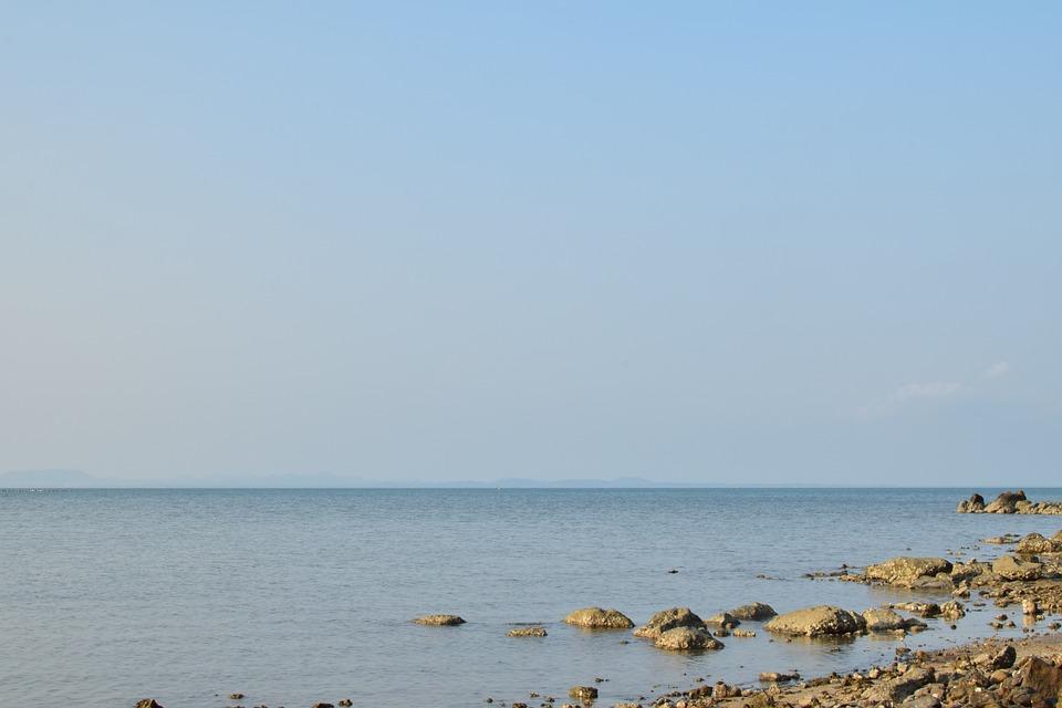 Sea, The Coast, Rock, Horizon, Sky, Peace