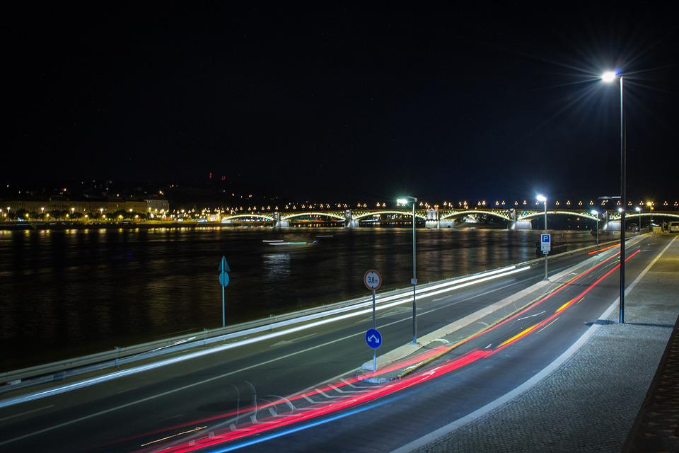 Budapest, Night, Road, Hungary, The Danube, River, City