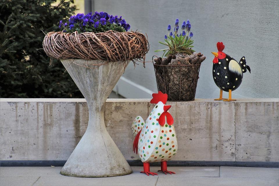 Concrete, Gray, Decoration, The Hen, Pattern, Pot