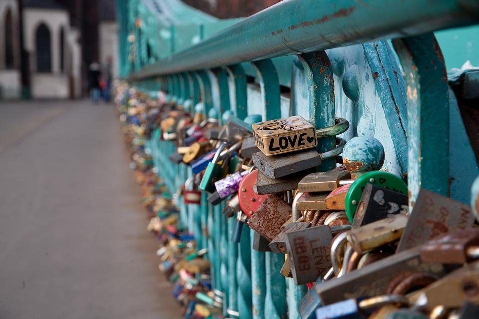 Bridge, River, Love, By Wlodek, Metal, The Inscription