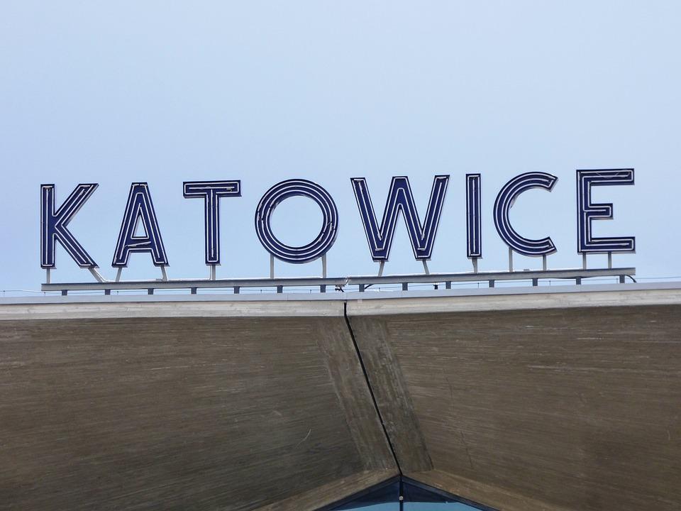 Railway Station, The Inscription, Katowice, City, Sky