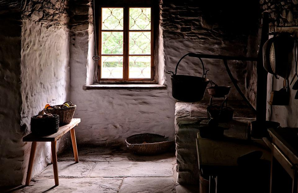 The Interior Of The, Cottage, Vintage, Window, Shelves
