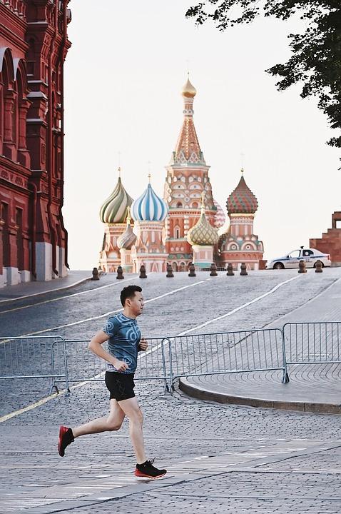 Man, Running, Moscow, The Kremlin, Sunset, City