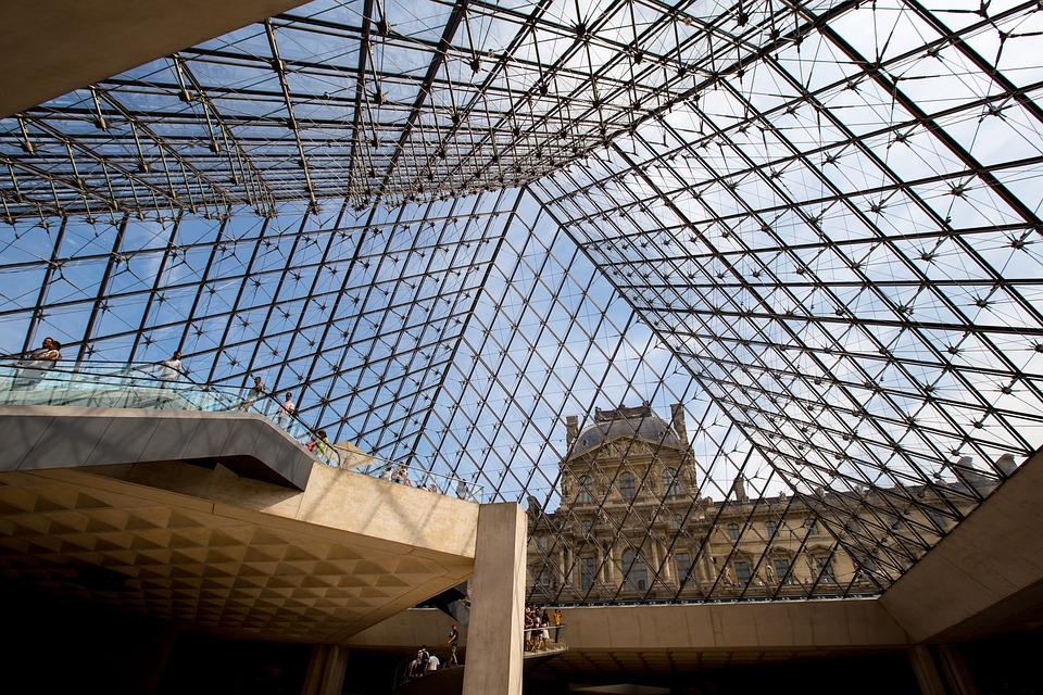Paris, The Louvre, Pyramid, Inside View, Journey