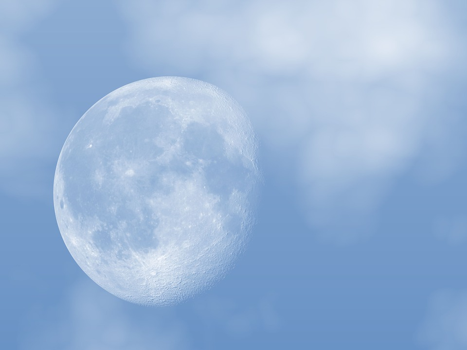 The Moon, Blue Sky, Moon, Universe, Space, Blue, Clouds
