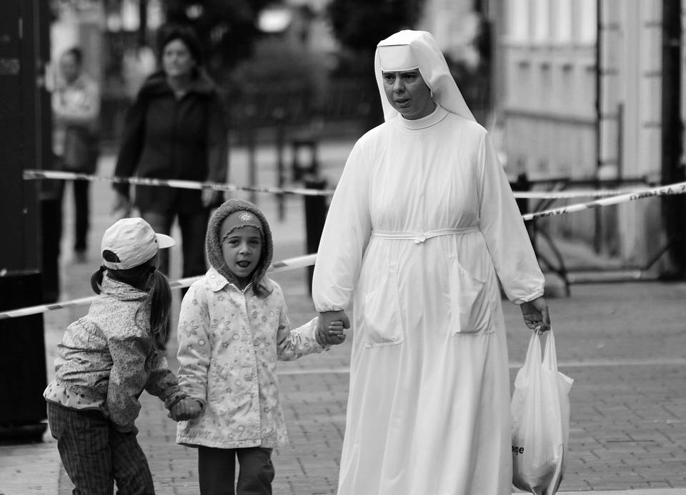The Nun, Children, Laughter, People
