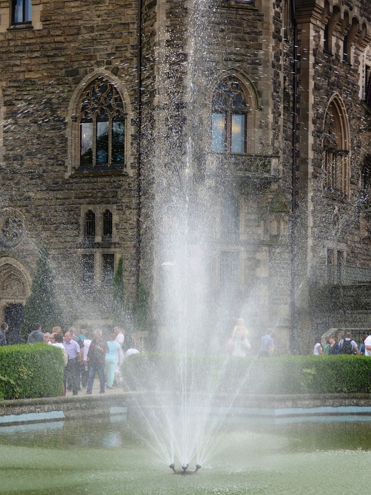 Fountain, Castle, Water, Building, The Palace, Tourism