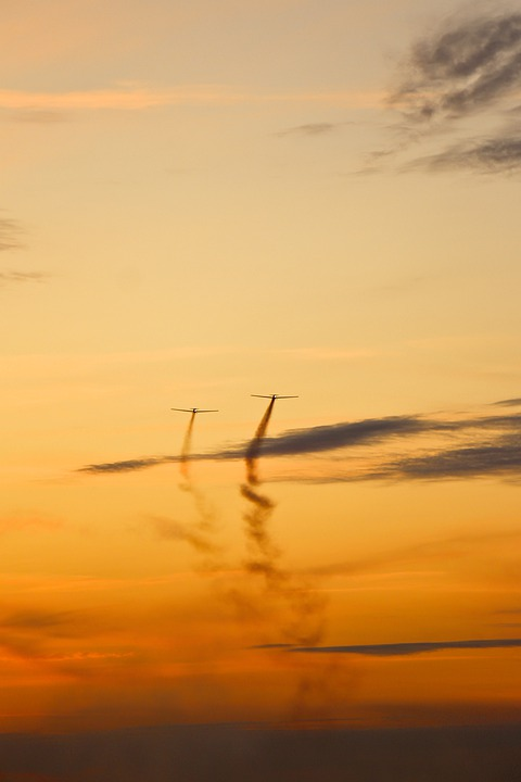 Aircraft, Sky, Sunset, Clouds, Air Show, The Plane
