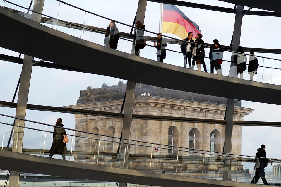 Berlin, The Reichstag, People, The Flag Of Germany