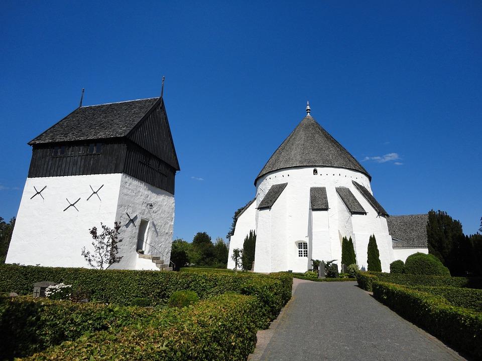 The Round Church, Bornholm, Denmark, White Church