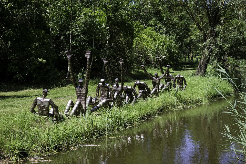 The Rowers, Steel Group Sculpture, Sculptor Bob Waters
