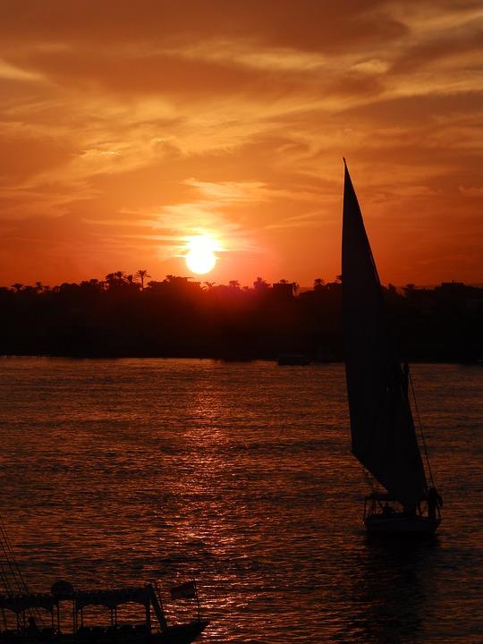 Boat, Sunset, Nil, River, Water, Sailboat, The Sail