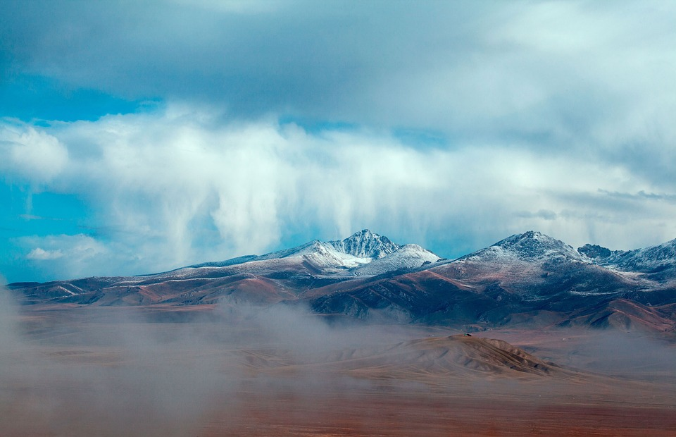 Snow Mountain, The Scenery, Blue Sky, Cloud, Mountains