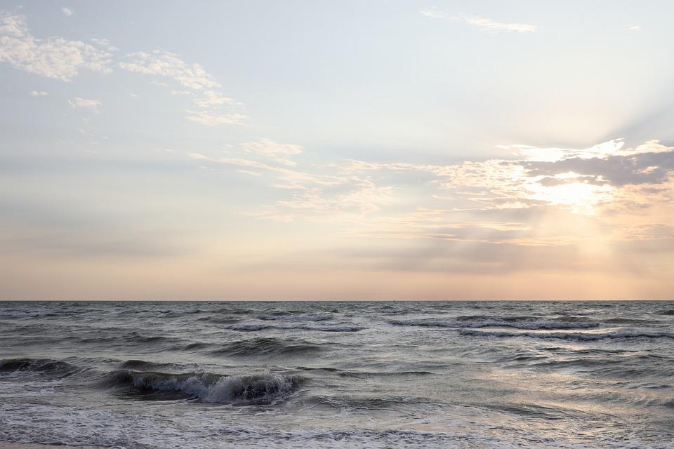 Sea, The Sea Of Azov, Sunrise, Horizon, Sky, Background