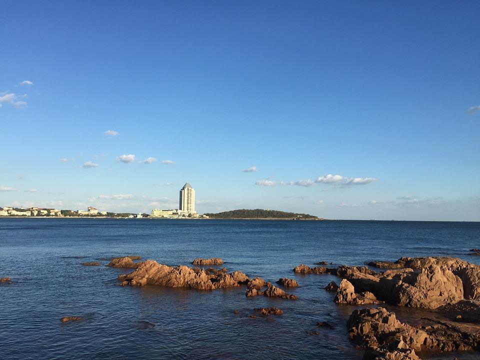 The Sea, Reef, Sky, Blue Sky, Tower, Qingdao