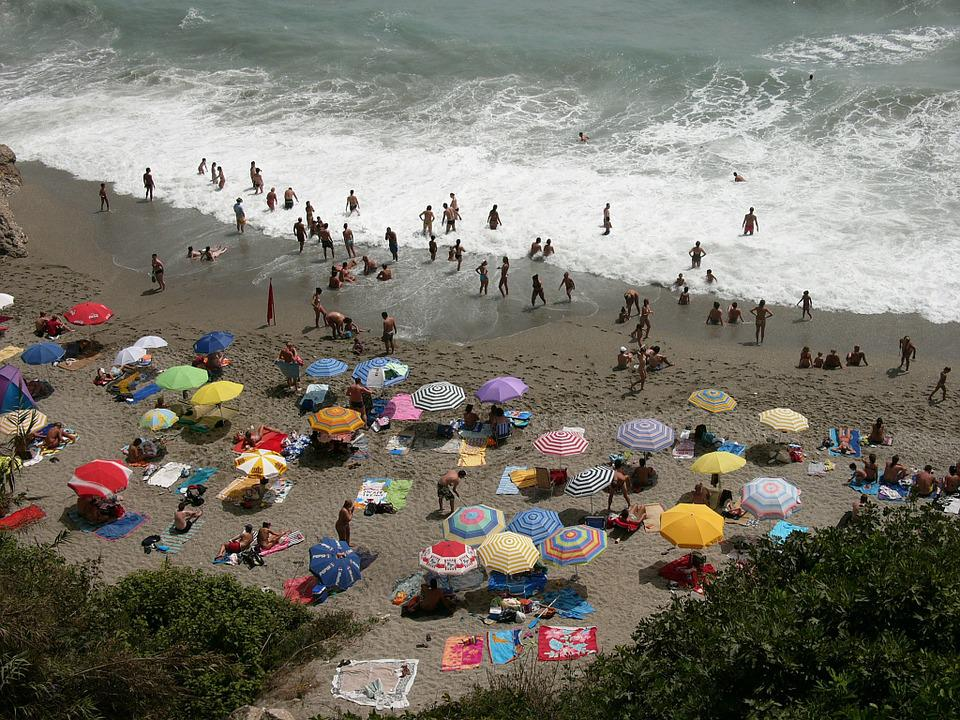 Beach, The Sea, Waves, Umbrellas, Colorful, Spain