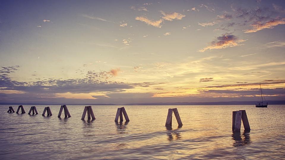Sea, Lake, Row, West, Sun, The Sky, Horizon