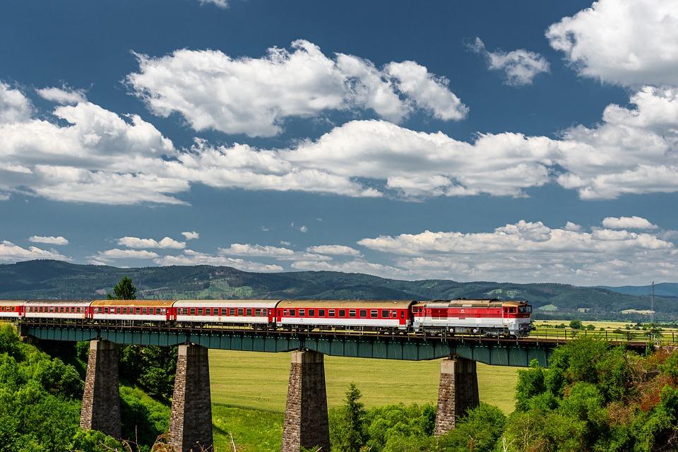 Train, Bridge, Railway, Transport, The Sky