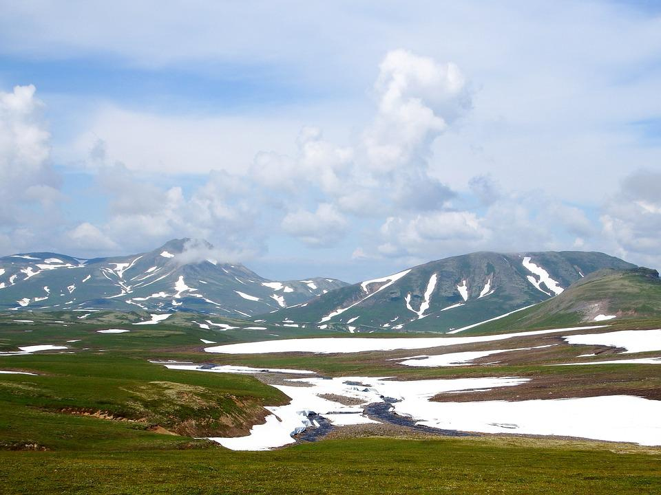 Kamchatka, Mountain Plateau, Tundra, Volcano, The Snow