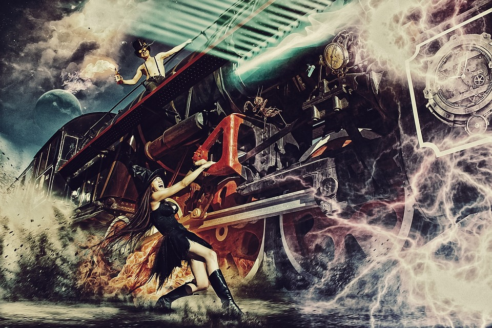Witch, Train, The Time Machine, Portal, Fire